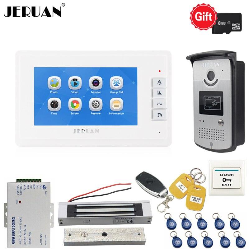 JERUAN Nouveau 7 pouce LCD Vidéo Porte téléphone Voix/Enregistrement Vidéo Interphone système kit RFID Accès IR Caméra Avec 180 kg serrure Magnétique