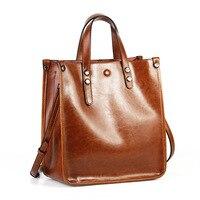 2019 Women Genuine Real Leather Large Tote Shopping Purse Shoulder Messenger Bag Fashion Handbag Vintage Daily Casual Designer