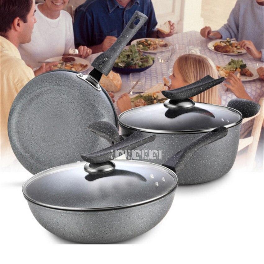 New Arrival Kitchen Non - Stick Pan Three - Piece Pot Sets BNS-78566 Induction Cooker Gas Cooking Pot Home Pot Set Combination