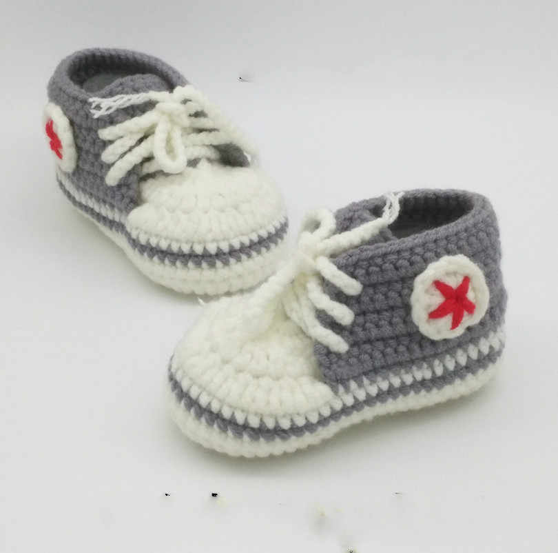 Spring And Autumn Winter New Handmade Baby Baby Sweater Hand Hook New Baby Milk Cotton Knitted Sports Shoes