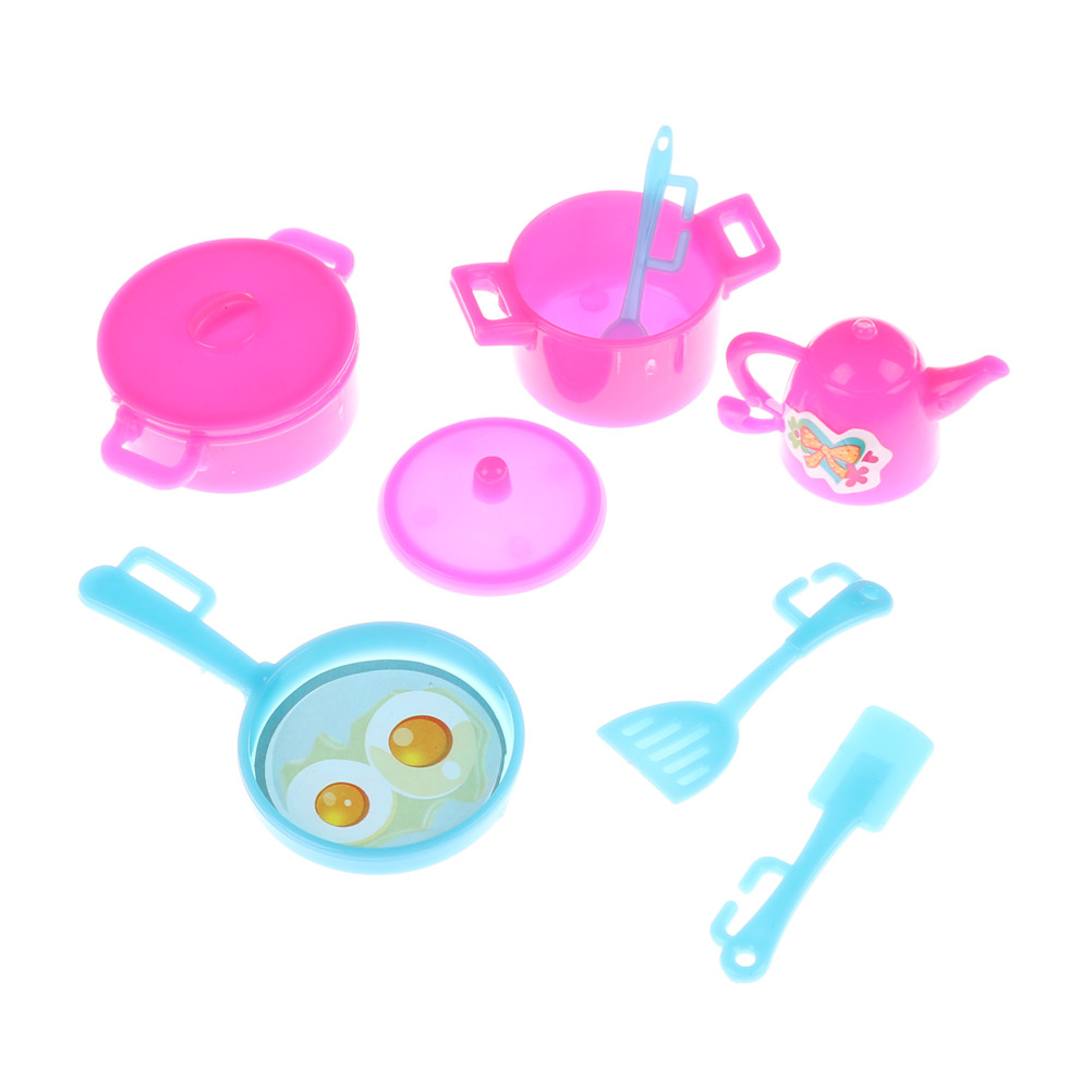 7pcs/Set Mini Simulation Tableware Dolls Kitchen Cooking Toys for Barbie Doll Accessories for Kids Early Learning & Education