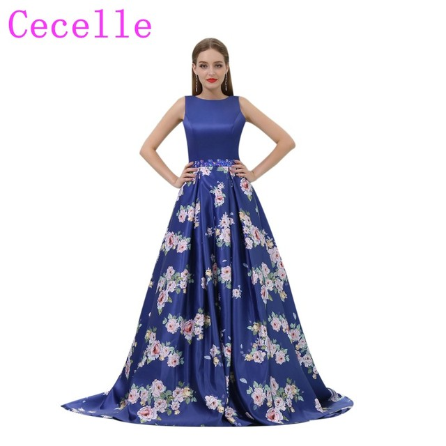 2018 Royal Blue A line Floral Print Long Prom Dresses Boat Neck Sleeveless  Satin Formal Evening Prom Party Dress Low Back New-in Prom Dresses from ...