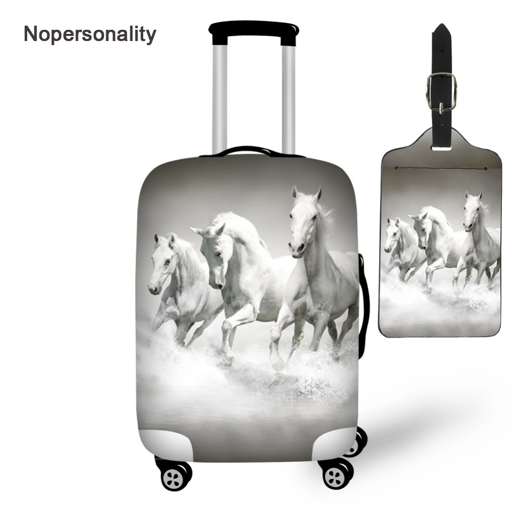 Nopersonality Zipper Closure Suitcase Cover Tag Horse Print Waterproof Travel Luggage Protective Dust Cover Travel Accessories