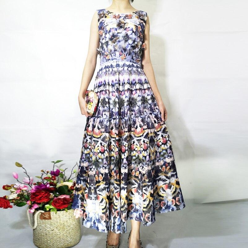 คุณภาพสูง 2019 ฤดูร้อน designer แฟชั่นผู้หญิง Vintage พิมพ์ Applique พื้นบ้านอินดี้ Party กลางความยาวชุด-ใน ชุดเดรส จาก เสื้อผ้าสตรี บน   3