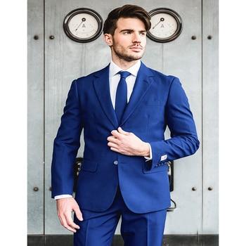 2017 Top Quality Groom Tuxedos royal blue Notched Lapel men Suit Male Business Casual mens suits Costume (jacket+pants+tie)