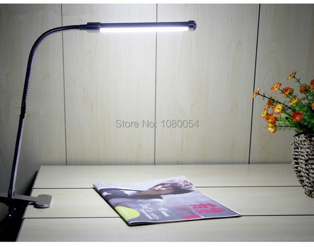 Preto limpar o vidro de 2015 Hot Sale DC lâmpada de mesa levou clipe luz mesa de cabeceira olho de Piano 6 w lâmpadas mesa de luz