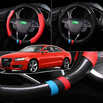 For Peugeot 308 Diameter 38CM Steering Wheel Cover Anti-Slip Carbon Fiber Top Leather Sport Style car accessories