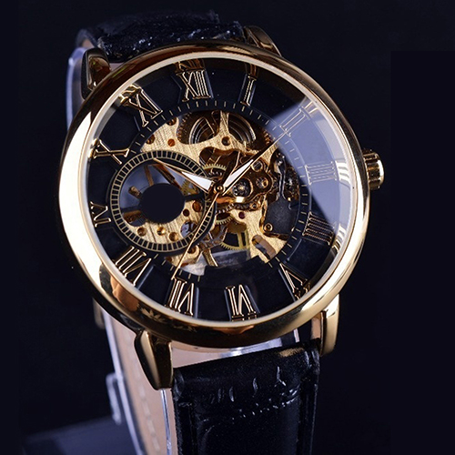 New Men Luxury 3D Hollow Engraving Case Roman Numbers Skeleton Dial Mechanical Watch Drop Shipping стоимость