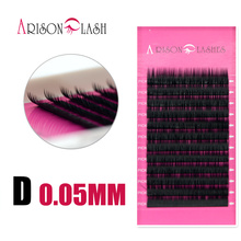 Arison lash 1 pc 0.05mm D Curl False Eyelash Extensions Thin and Soft Material 3d 6d Voluming Lashes Tray Lash extension