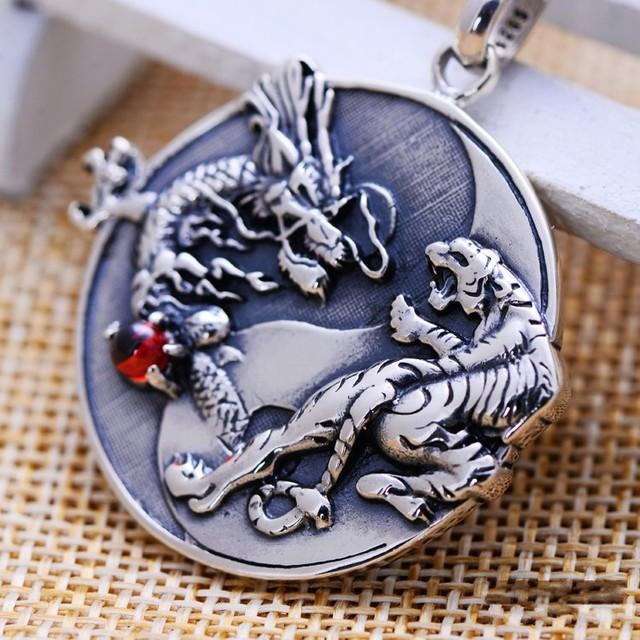 silver jewelry wholesale silver retro Taiji Bagua dragon white tiger Silver Pendant Medallion Pendant pendant for men