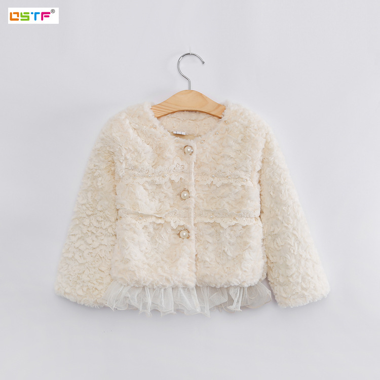 LSK High Quality Fancy Pearls Girls Winter Coat Junoesque Lace Baby Girls Faux Fur Fleeced Kids Winter Warm Jacket 2015 New HOT 2016 new mori girl high quality sweep lace fur coat