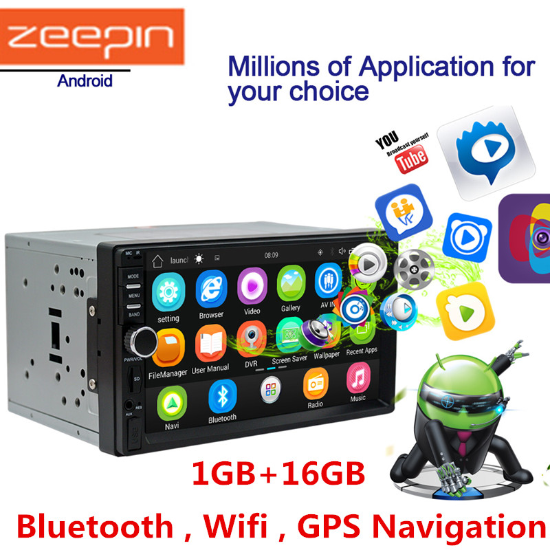 Zeepin Din Android System Car Multimedia Player AM / FM Stereo Radio 7 inch Touch Screen Wifi Bluetooth GPS Navigation kkmoon 2 din hd touch screen car stereo radio player gps navigation multimedia entertainment system wifi bt am fm android 5 1