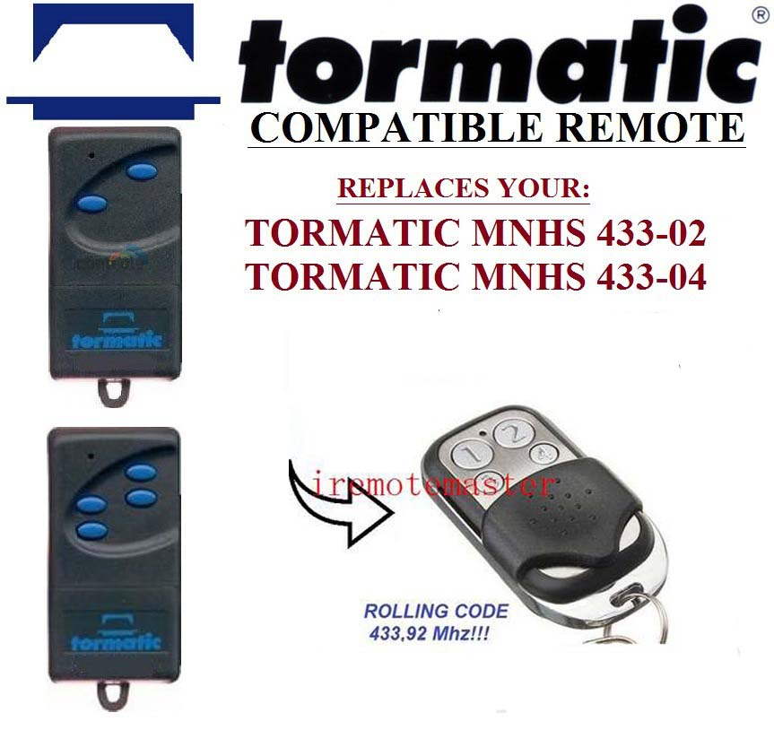 TORMATIC MNHS 433-02, TORMATIC MNHS 433-04 compatible remote control replacement Rolling code 433mhz proteco ptx433305 compatible replacement remote control 433mhz fixed code