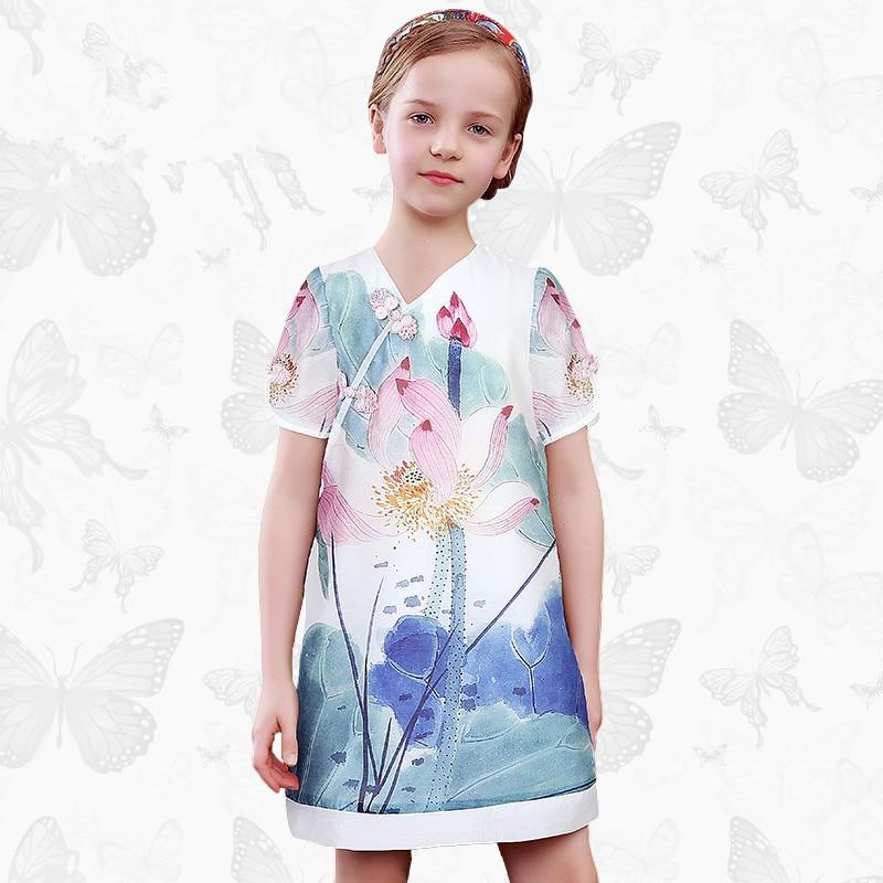 W.L.Monsoon folk custom Short sleeve Girl dress Summer dress Slim fit summer cheongsam Princess dress thin girls dress