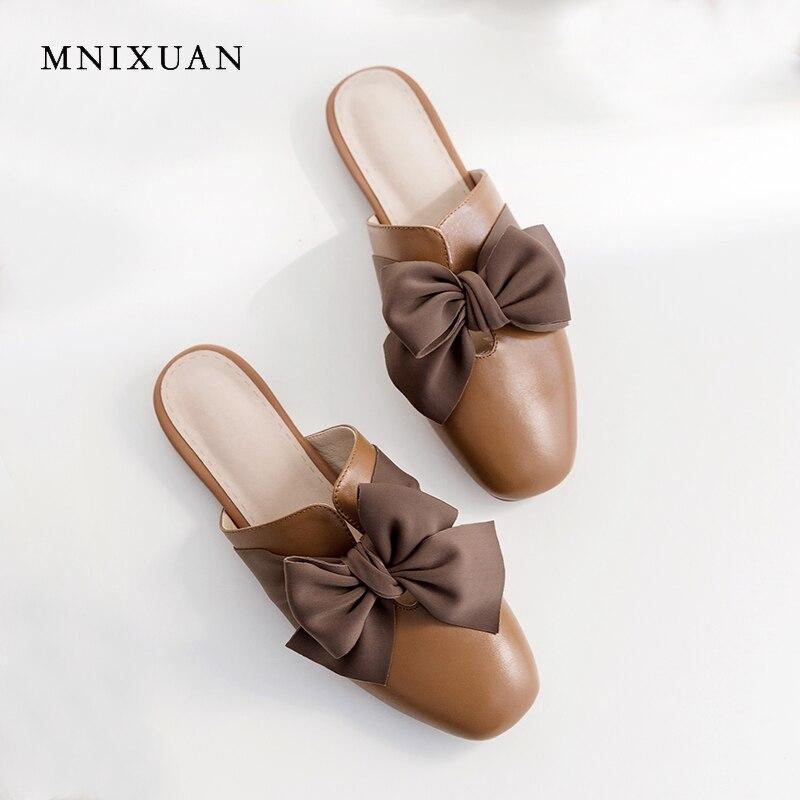 MNIXUAN Mode toevallige vrouwen platte schoenen teen muilezels slippers 2019 zomer nieuwe vierkante neus echt leer vlinder knoop schoen-in Slippers van Schoenen op  Groep 3
