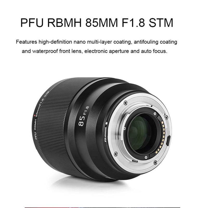 VILTROX PFU RBMH 85mm F1 8 STM X mount AF Auto Focus Standard Prime Lens Portrait Lens for Fuji XT3 XT100 X PRO FX mount Camera in Camera Lens from Consumer Electronics