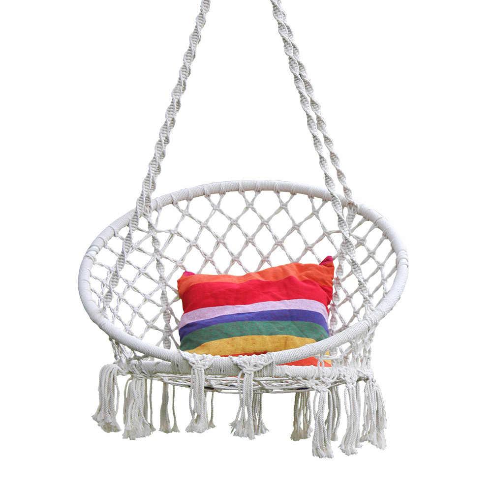 b2f32cfd2 Cuerda de algodón hamaca silla columpio para niños mano tejido macramé  columpio conjunto niños interior exterior