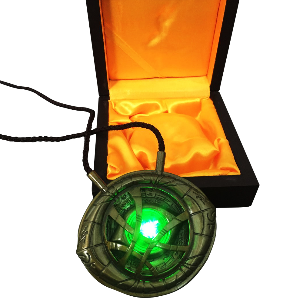 Newest Doctor Strange Pendant Eye of Agamotto GLOW IN THE DARK Necklace with Light Free Shipping