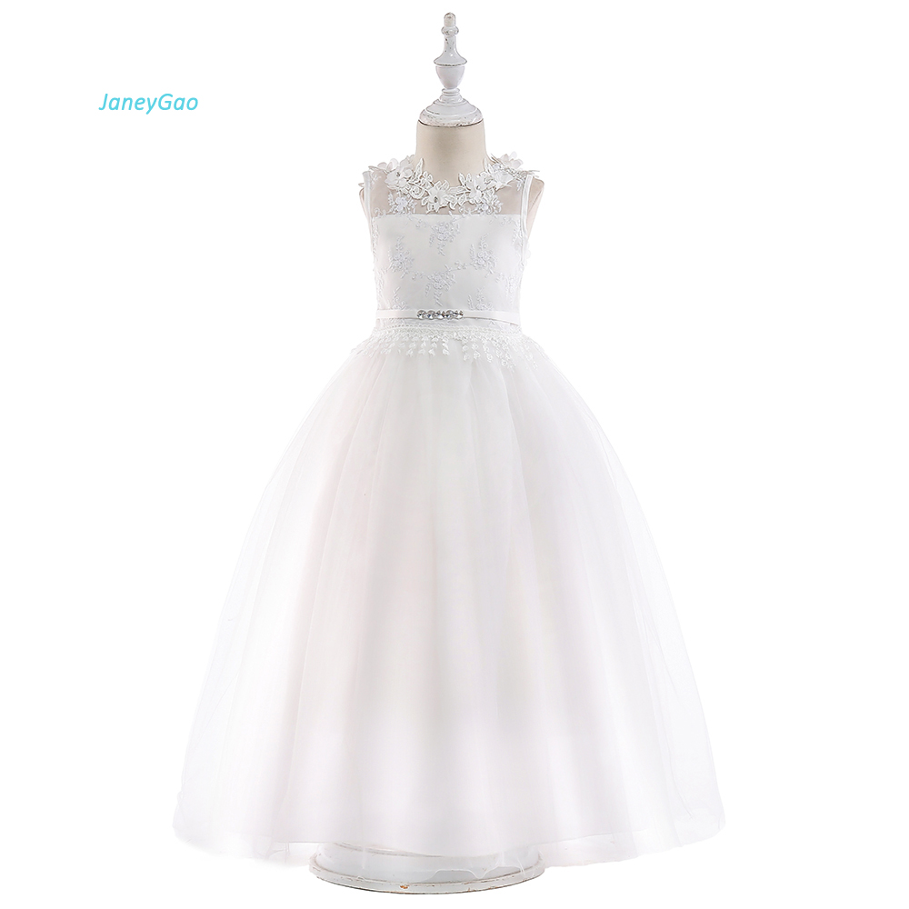 JaneyGao   Flower     Girl     Dresses   For Wedding Party White Elegant Teenage   Girl   Formal Gown First Communion   Dresses   Children Prom Gown