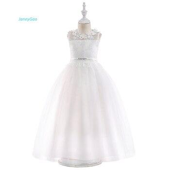 76f542a38 JaneyGao vestidos de niña de las flores para la boda Fiesta blanco elegante  chica adolescente vestido Formal vestidos de primera comunión de los niños  ...