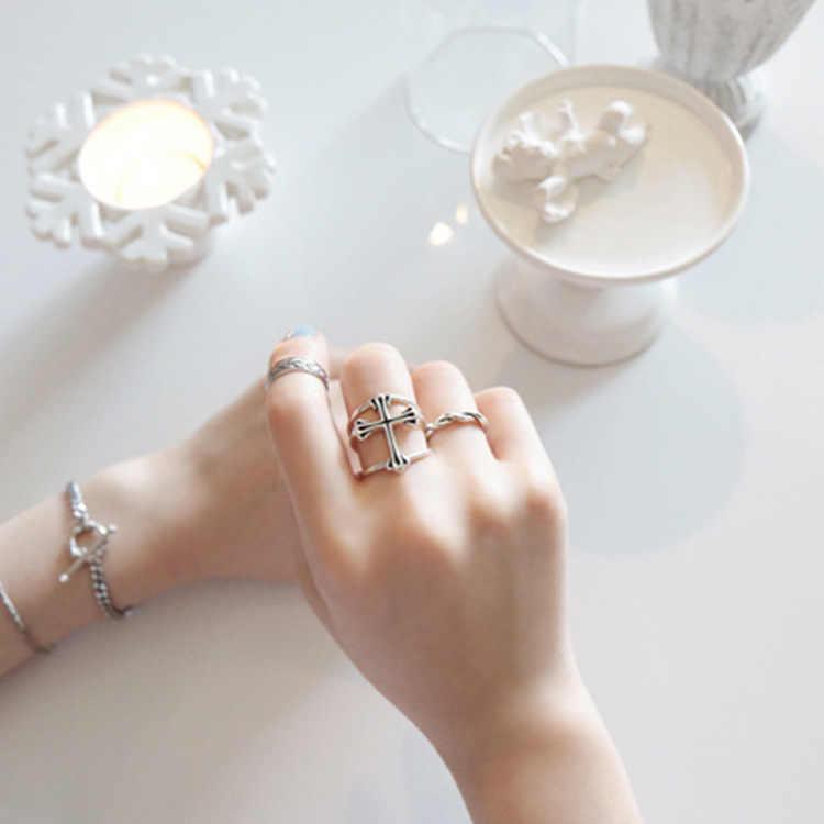 RYOUCUTE Real pura Plata de Ley 925 joyería Retro Punk grande Cruz Anillos para mujeres boda dedo anillo abierto Anillos anselli