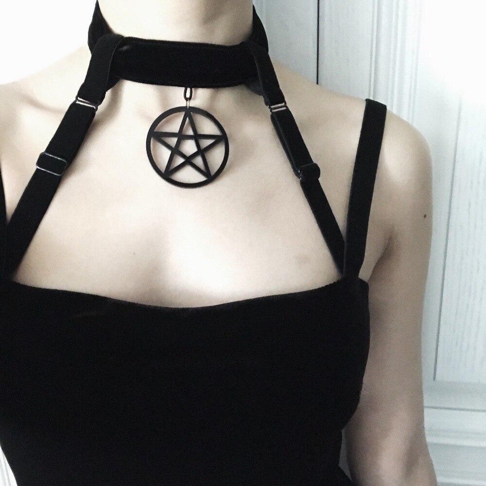Dark Gothic Witch Five Stars Cross Love Bandage Tie Dress