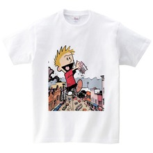 Funny kids Tee Shirts boys Game Of Throne Calvin And Hobbes 3D print White T Shirt children Short Sleeve top clothes 2-15Y  NN