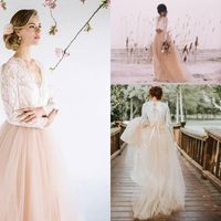 Lace top Bride Dress Long Sleeves Pink Modest Cheap Wedding Dress 2019 Custom Made Contrast color Vestidos De Fiesta