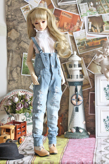 1/3 1/4 Bjd clothes female hole retro denim jumpsuit