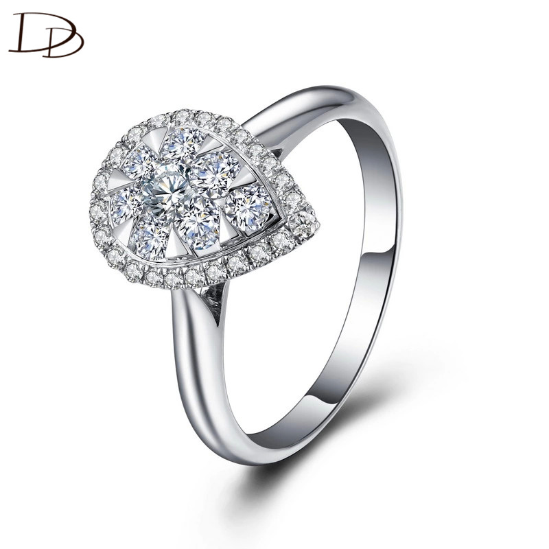 DODO Unique Petal Rings For Women AAA Zircon Wedding Engagement Bridal Ring 925 Sterling Silver Fine Jewelry Bague Female DD085