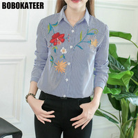 BOBOKATEER Embroidery Blouse Top Women Blouses Office Long Sleeve Shirt Women Tops Blusas Mujer De Moda