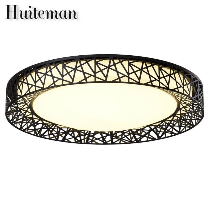 Huiteman Modern Ceiling Lights Black Adjustable Color Warm White Round Novelty Luminaire Living Room Bedroom LED Ceiling Lamps modern 3 color adjustable triangle