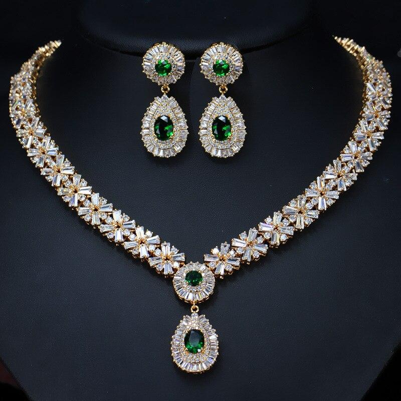 Ensemble de bijoux d'oreilles ovales rouge grenat cristal Zircon or Rose boucles d'oreilles collier pendentif M02-T0018