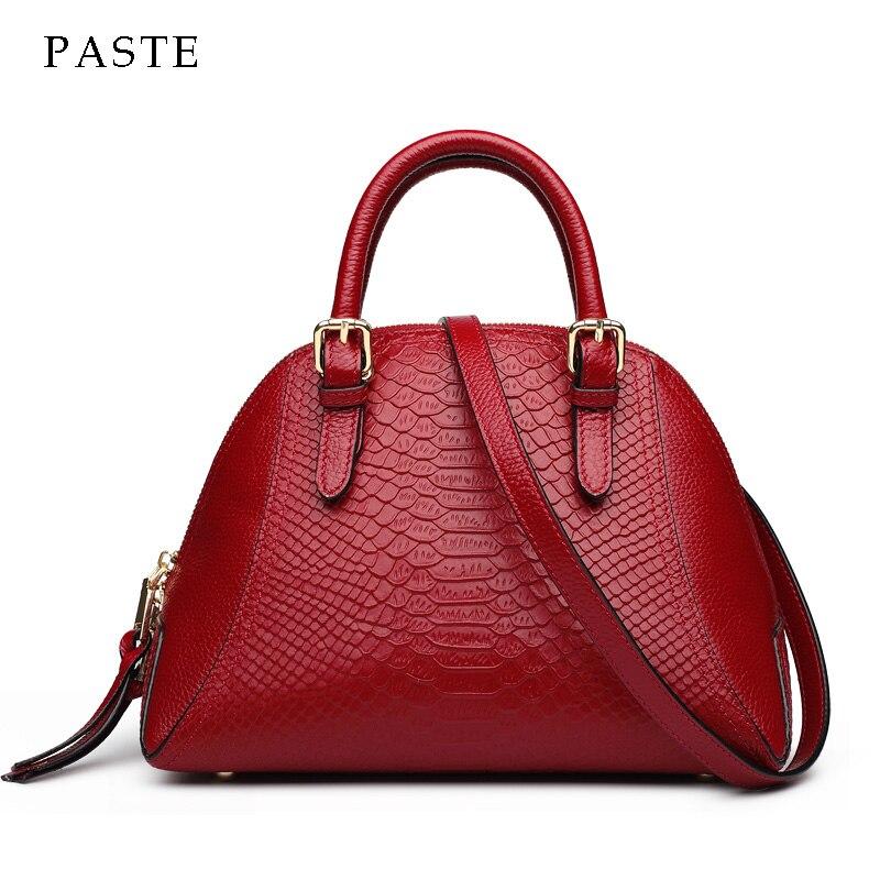 2017 Famous Brand Designer Women's Shell Bag Snake Pattern 100% Real Leather Ladies Shoulder Bag High-end Female Shell Bag famous brand bag 100