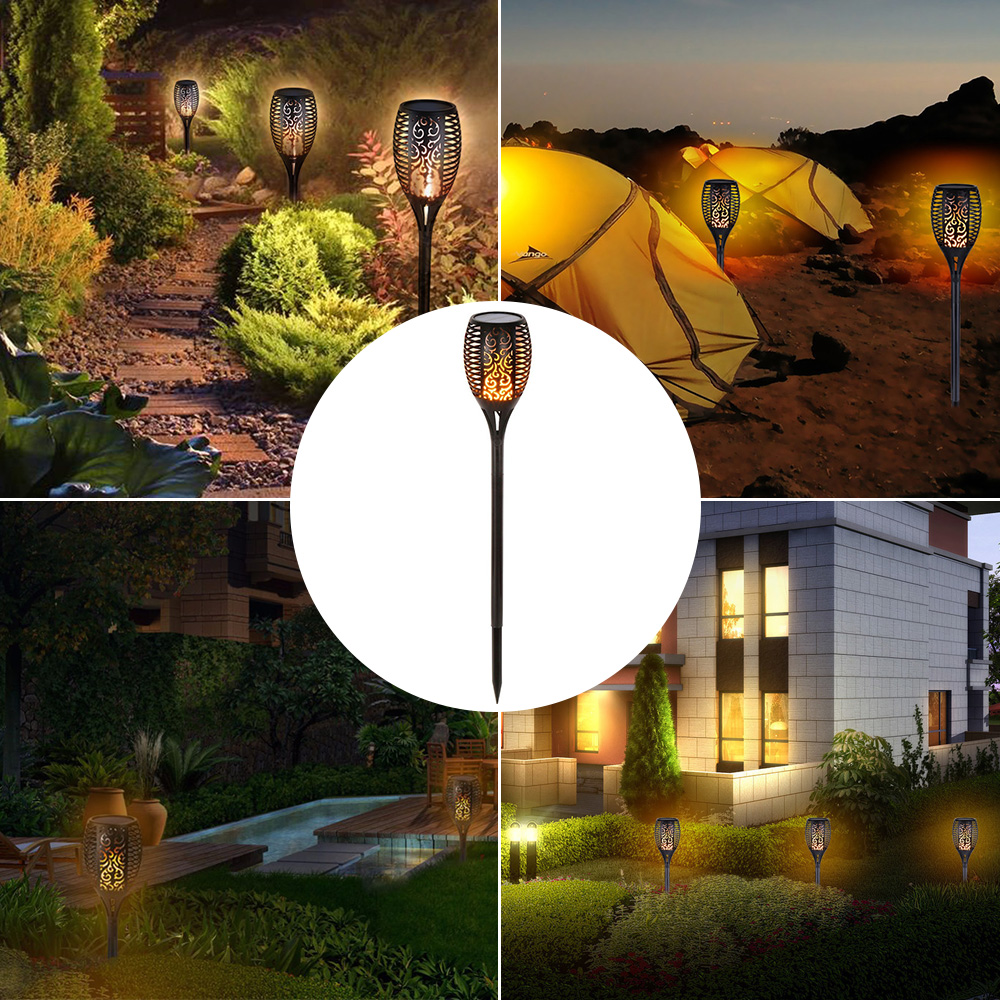 LED Flame Lamp Solar Waterproof Lawn Light Dancing Flickering Torch Lights Garden Outdoor Landscape Decorative Path Lighting