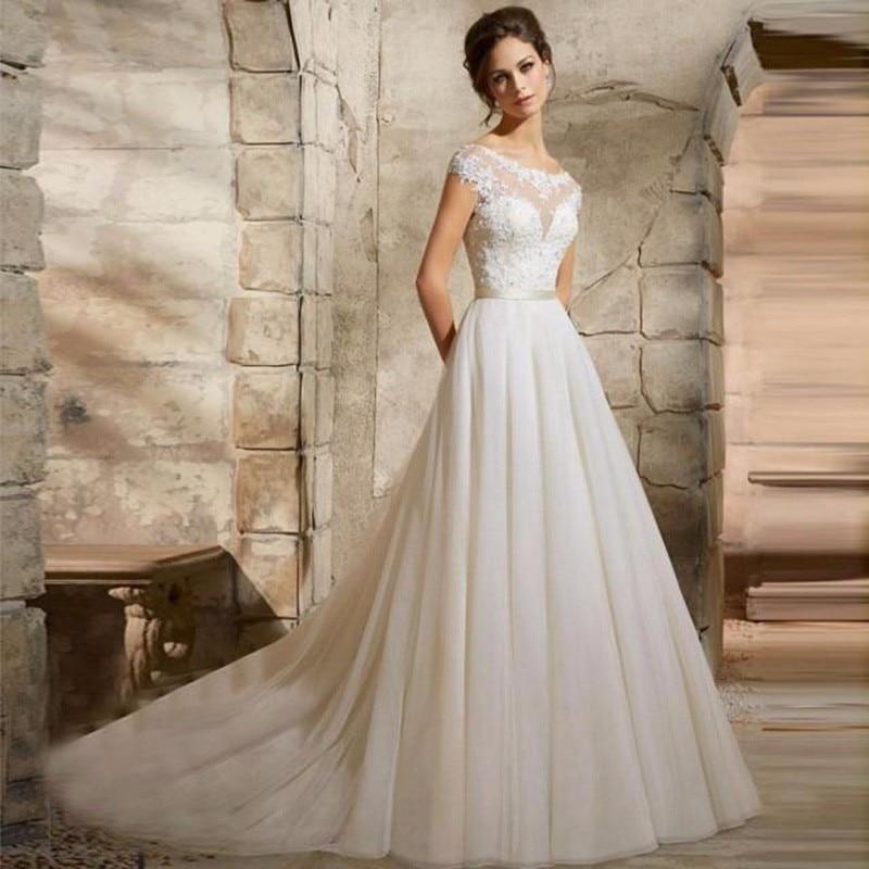 2017 Vestido De Novia High Quality Appliqued Lace Tulle Girl ...