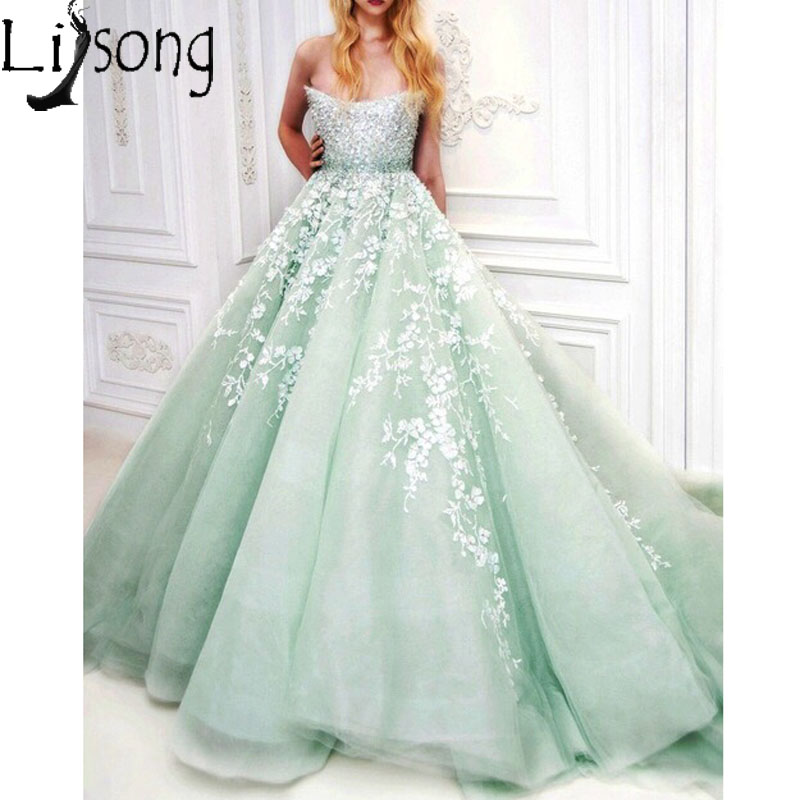 Charming Mint Long   Prom     Dresses   Off the Shoulder Heavy Beading Lace Appliqued Elegant Evening   Dress   Bride Engagement Party   Dress