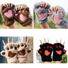 1 Pair Girl Half Finger Glove Soft Half Covered Women Female Gloves Mittens Warm Animal Paw Fluffy Plush Paw Glove YL374