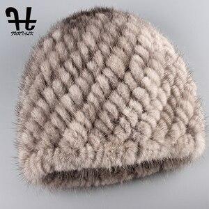 Image 5 - FURTALK ミンクの毛皮の帽子帽子女性の冬のニット毛皮の帽子ロシア女性の高級ブランドの自然毛皮キャップ冬帽子女性 2020
