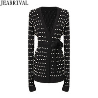 Luxury Pearls Beading Cardigan Womens Long Sleeve V Neck Slim Casual Stretch Sweater Runway Deisgner Knitted Coats Pull Femme