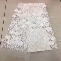 Big Beads Sky Blue 3D African French Lace Great Tulle Net Lace Fabric With 3D Flowers 5 Yards For Lady Dress 30