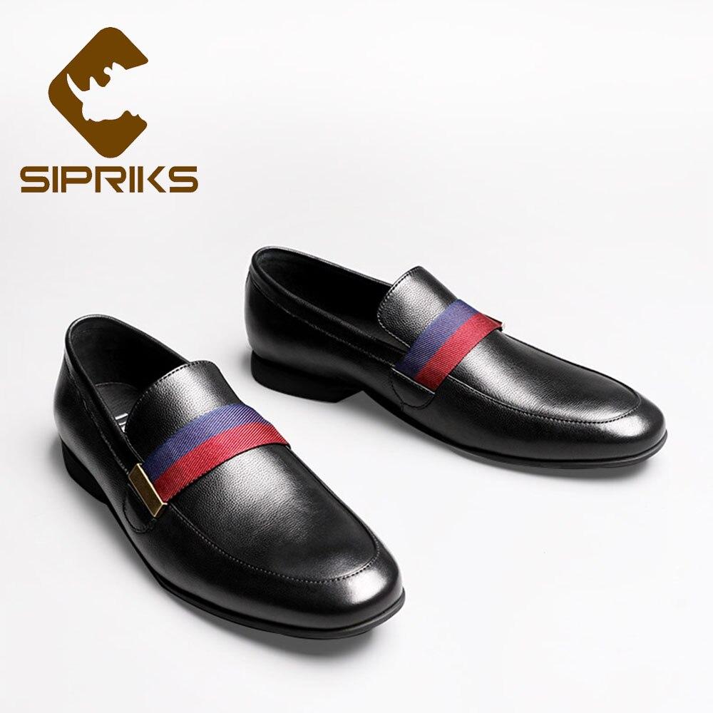 Sipriks en cuir véritable noir mocassins hommes confort sans lacet chaussures décontractées marron daim respirant à fond plat chaussures mode lumière