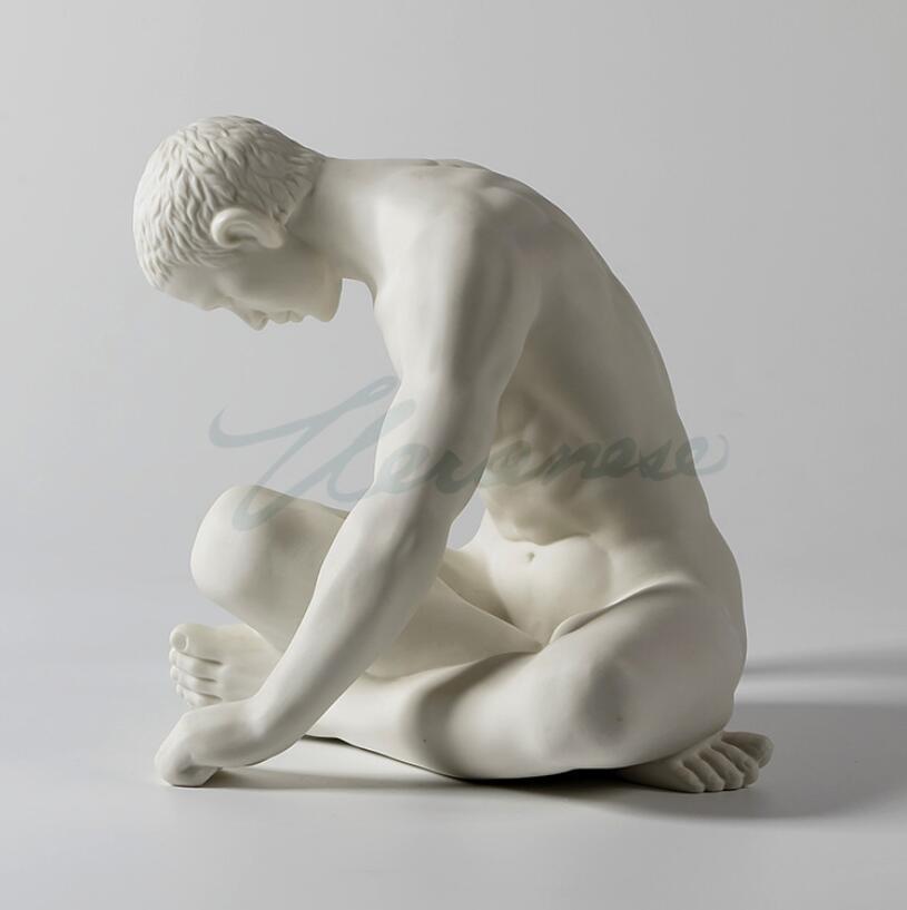 الحديثة الفن النحت اليدوية الأبيض السيراميك الجلوس رجل الجسم تمثال-في التماثيل والمنحوتات من المنزل والحديقة على  مجموعة 3