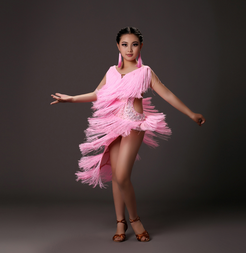 Nuevo estilo trajes de Danza Latina borla vestido latino de la danza ...