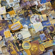 60 pçs viagem bilhete mapa planeta pena café vida dourado papel adesivo decoração diy ablum diário scrapbooking etiqueta