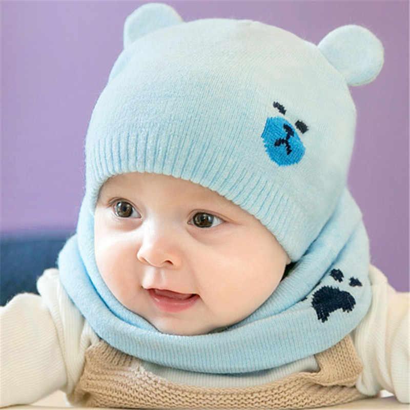 2pcs set Fashion Newborn Hats Knitted Warm Bear Round Machine Cap Protects  Ear Bonnet Baby 05c59406aedf