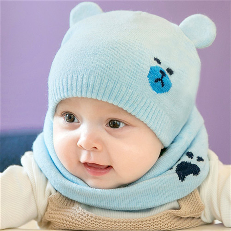 Boys' Baby Clothing Scarf Suits 2pcs/set Liberal Newborn Baby Hats Knitted Warm Cap Bear Round Machine Caps Protects Ear Bonnet Baby Winter Caps Accessories