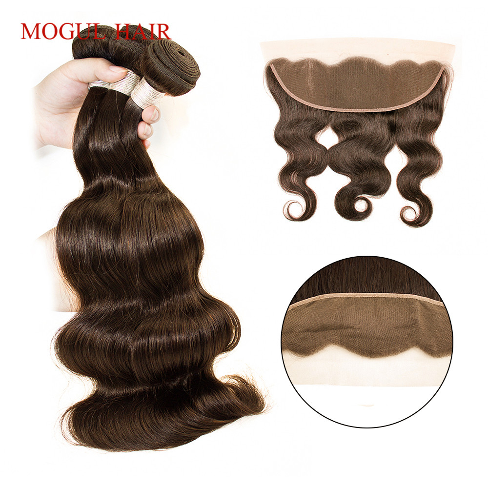 Dark Brown Color 4 Body Wave Bundles with Frontal Raw Indian Hair Remy Human Hair 2/3 Bundles with 4x13 Frontal MOGUL HAIR