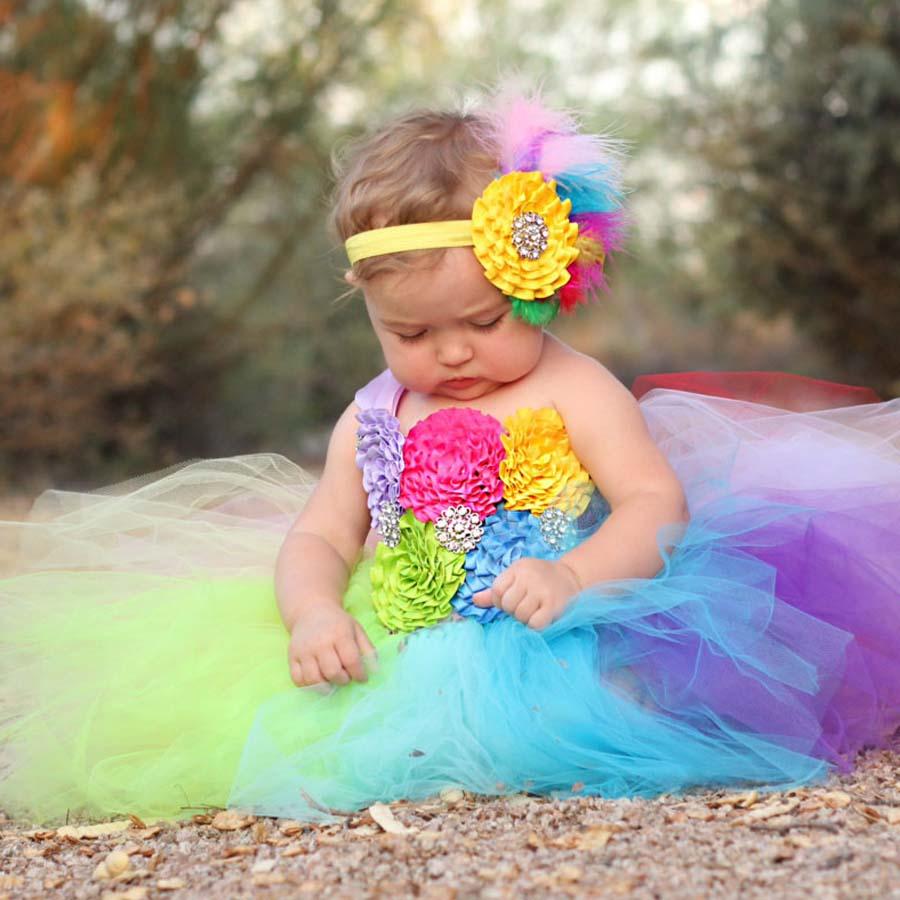 Volledige regenboog tutu jurk gehaakte baby tule jurk met hoofdband 1e verjaardag jurk pasgeboren foto Props Candy Land Tutu TS092