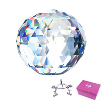 H&D Clear Cut Crystal Ball,80mm Translucent Faceted Gazing Sphere with Stand Home Hotel Photography Decoration Sun Catcher